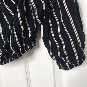 Brandy Melville Tops - Brandy Melville Off Shoulder Striped Navy Shirt